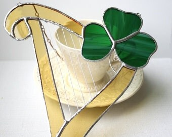 Irish Harp and Shamrock Stained Glass Suncatcher Irish decor, st. patricks day, celtic harp, made in Ireland Wedding Decor
