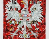 polish eagle polka mosaic collage beer wall art giclee print 11x14 Dyngus day Buffalo