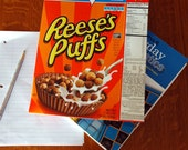 upcycled two pocket vintage inspired Peanut Butter cup cereal box school folder