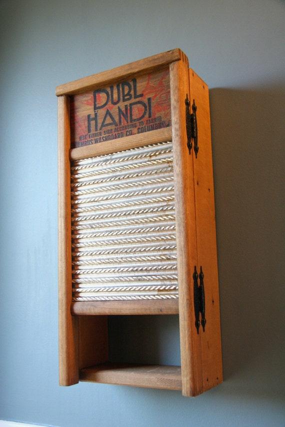 SALE  Vintage Columbus Washboard Wood& Metal Dubl Handi Cabinet