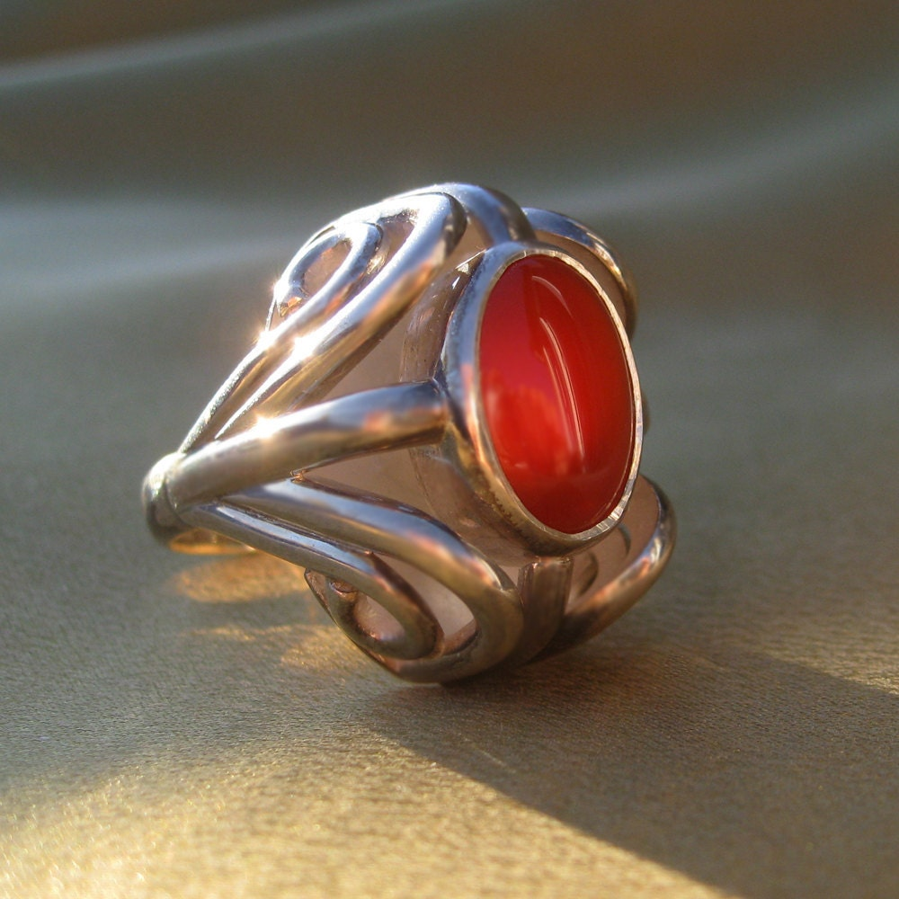 carnelian and sterling silver ring by rimantas on etsy