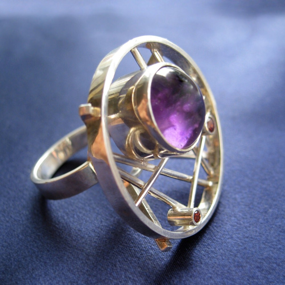 amethyst and garnet sterling silver ring