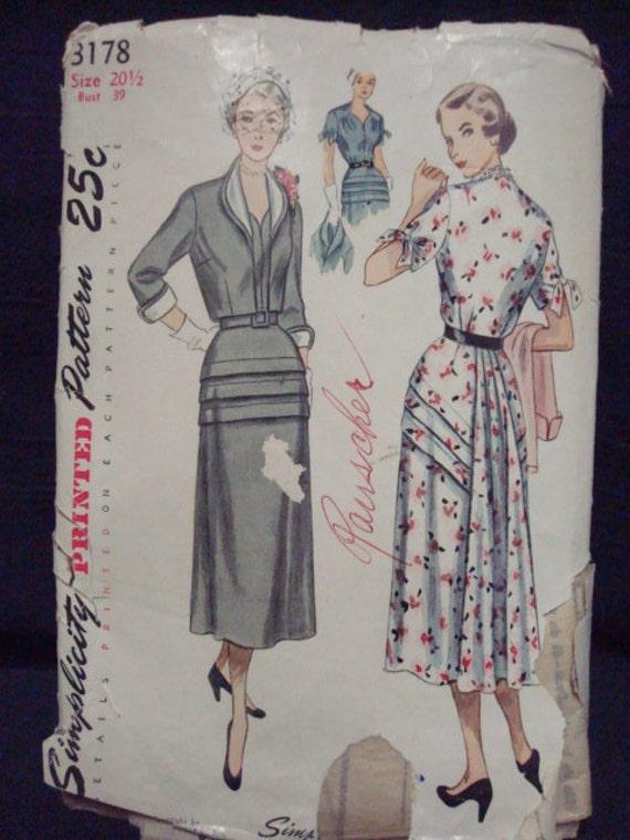 Elegant 1950 Dress and Bolero Bust 39  Simplicity 3178 Plus Size Vintage Sewing Pattern