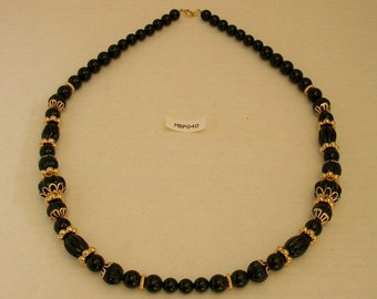 Vintage Trifari necklace with round, and oval, fluted Black beads, and Gold Colored settings - FREE SHIP