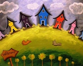 Crooked Houses  Art Postcard