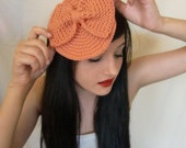 Vintage Coral Bow Cocktail Hat