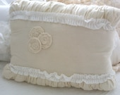 RESERVED for Elizabeth 8x TREASURY ITEM-Cream and White Ruffled Pillow with Rope Rosettes