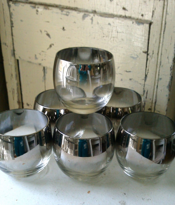 RESERVED Set of Six Vintage Retro Ombre Silver Cocktail Tumblers