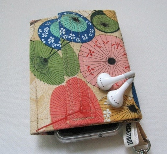 Escape Pod Wallet in Paper Parasol- Perfect for iPod, iPhone, Droid, Zune, Blackberry, most digital cameras, cell phones,  earbuds, credit cards and more