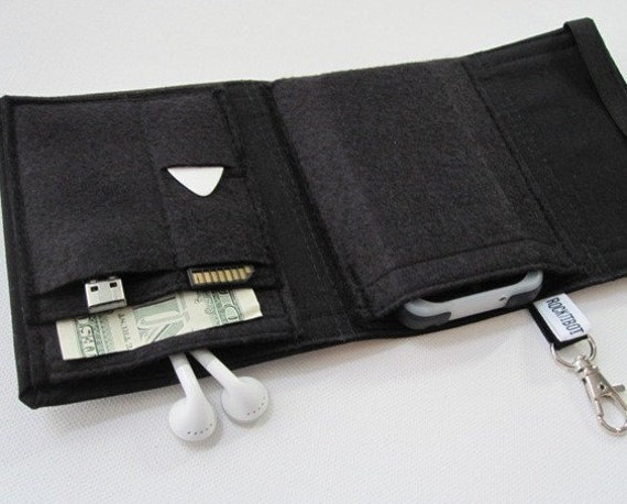 Nerd Herder gadget wallet in Just Black for iPhone, Droid, iPod, MP3, metronome, digital camera, earbuds, SD cards, USB, guitar picks, IDs