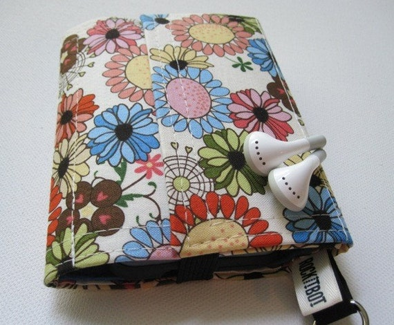 Nerd Herder gadget wallet in Wildflower Whimsy for iPod, Droid, iPhone, MP3, metronome, camera, earbuds
