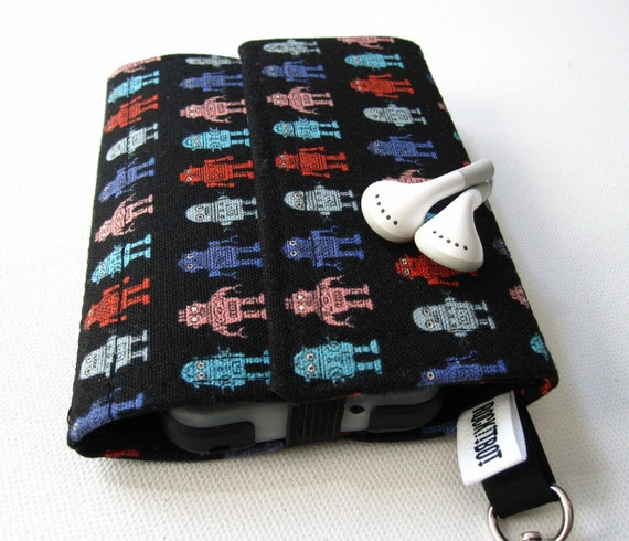 Nerd Herder gadget wallet in Robots for iPhone, Droid, iPod, camera, earbuds, SD cards, USB, batteries, guitar picks, IDs, cards