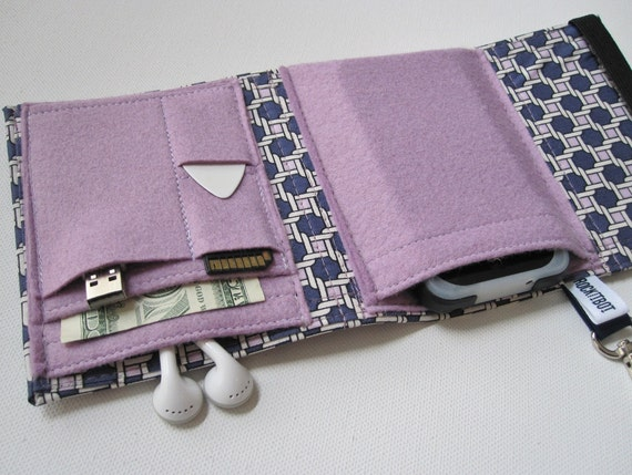 Nerd Herder gadget wallet in Basket Case for iPod, Droid, iPhone, camera, earbuds, SD cards, USB, extra batteries, guitar picks,