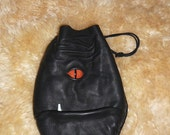 Grimm Bag: drawstring pouch with dragon eye and tusk (black leather)