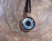 Sale******Large Dragon eye Necklace (Light Rainbow eye in Silver bezel)
