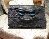 leather business card holder (aqua dragon eyes in black leather)