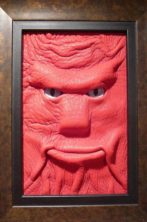 Monster Portrait: Barrowhin--framed Red leather Face