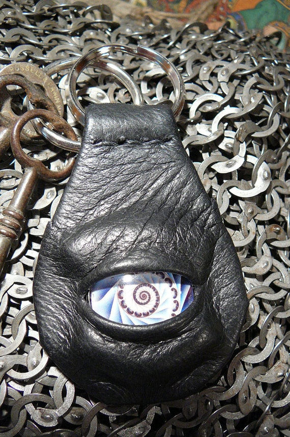 Dragon eye keychain (black leather with blue spiral eye)