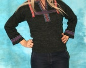 Vintage red gray and blue sweater