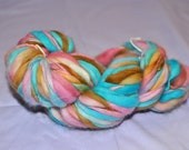 Handspun Merino Wool Yarn Destash 58 yards - Fuzzy Fibers Pig Tails - pink turqouise aqua tan brown white