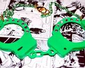 50% OFF - Blinged Rhinestone Green Jumbo Handcuff Necklace