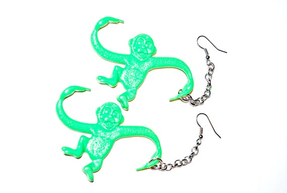 Bright Green Monkey Earrings