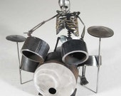 Zombie Skeleton Drumming Metal Sculpture - Big Kit