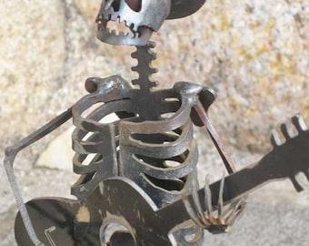 Cowboy Zombie Skeleton Guitarist Steel Sculpture