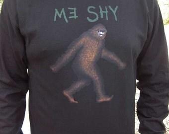 Bigfoot Me Shy Elusive Sasquatch LONG SLEEVE T-Shirt