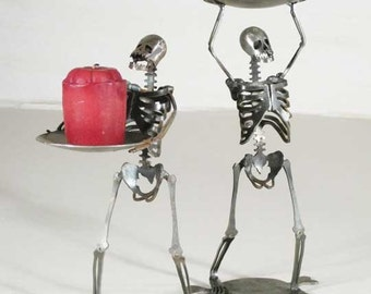 Zombie Skeletons Standing Candle Holders Set of 2