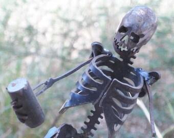 Zombie Skeleton Drunk and Confused Metal Sculpture
