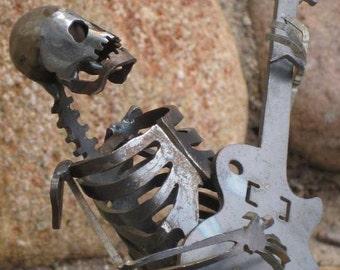 Zombie Skeleton Musician Guitar Solo Metal Sculpture