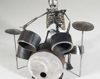 Zombie Skeleton Drumming Metal Sculpture - Big Kit