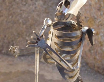 Zombie Skeleton Jazz Singer Metal Sculpture