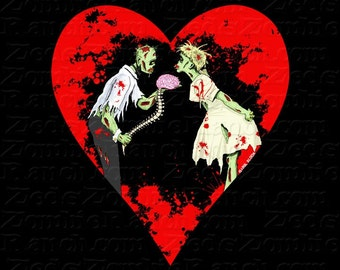 Zombie Shirt - Zombie Love with Heart T Shirt