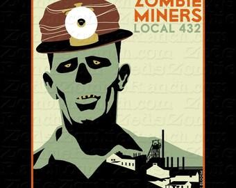 Zombie Shirt - Zombie Miner WPA Poster T-Shirt