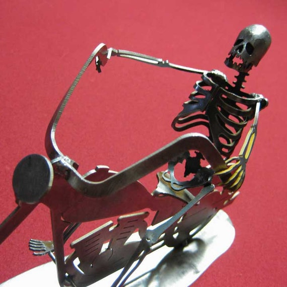 Zombie Skeleton Riding Motorcycle Steel Sculpture