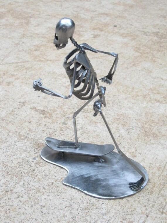Zombie Skeleton Skateboarding Metal Sculpture