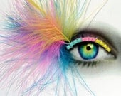 Eyelash Jewelry - neon rainbow fluff