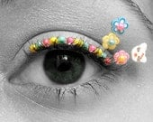 Rave Eyelash Jewelry - beaded false eyelashes, neon flowers, kawaii kitty faces, eye kandi