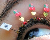 Viva Las Vegas Eyelash Jewelry - false eyelashes with cherries, ace of spades, gold hearts
