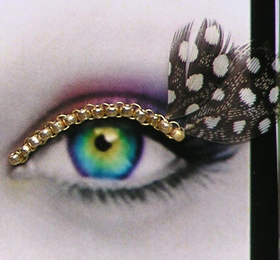 24k Gold Plated Eyelash Jewelry with spotted feathers