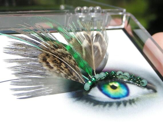 Feather False Eyelashes - green, turquoise steampunk - Eyelash Jewelry