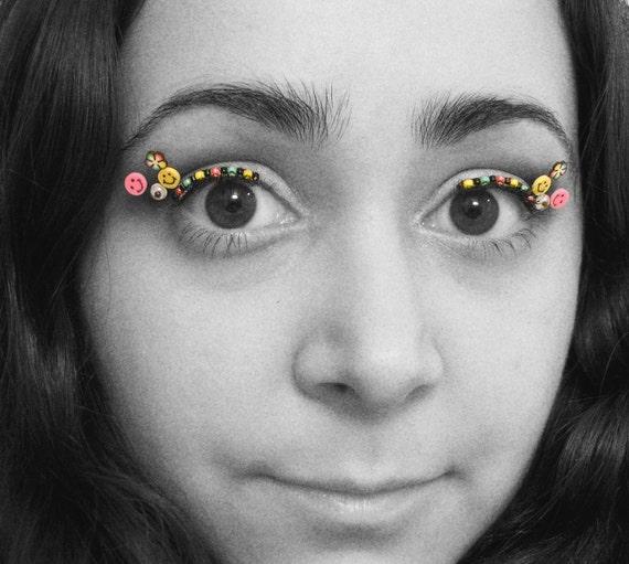Rave Eyelash Jewelry - beaded eye kandi with UV beads and smiley faces