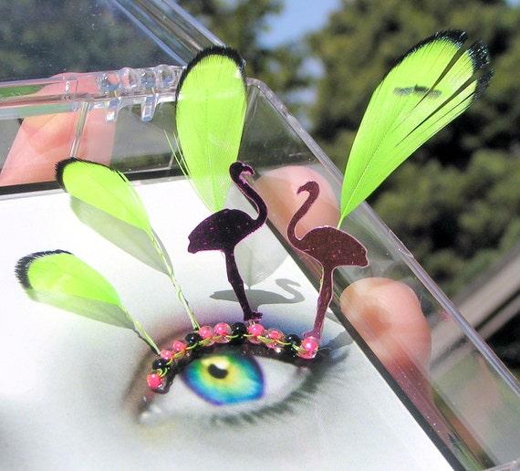 Feather False Eyelashes - Raver Flamingos - neon and black light reactive UV kandi - Eyelash Jewelry