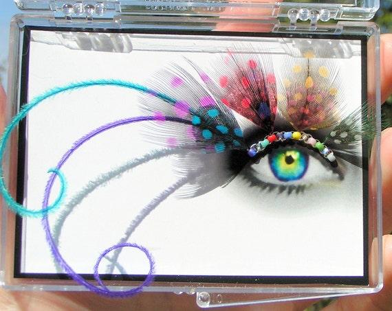 Feather False Eyelashes - Speckled Crystal Rainbow - Eyelash Jewelry