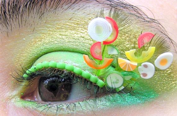Salad Days Eyelash Jewelry - garden vegetables and green feathers false eyelashes