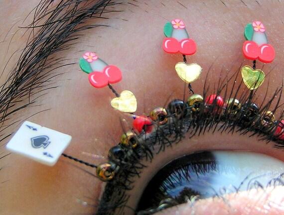 Viva Las Vegas Eyelash Jewelry - false eyelashes with cherries, ace of spades, gold hearts