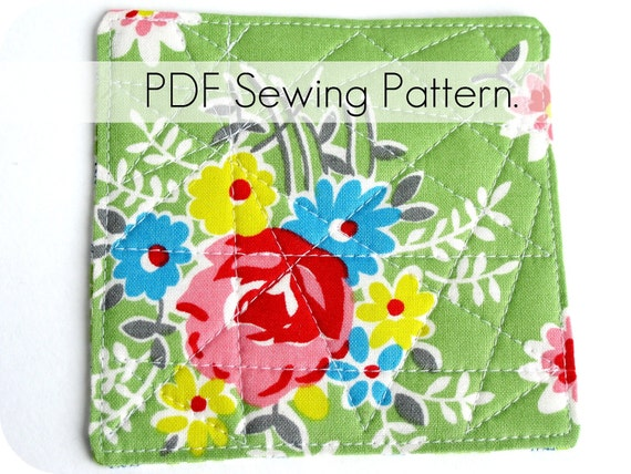 Pattern: Coasters -- Reversible Quilted Quickie Tutorial and Sewing Pattern in PDF format.