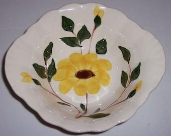 Three Blue Ridge Yellow Nocturne Lug Cereal Bowls SALE 12.00 each